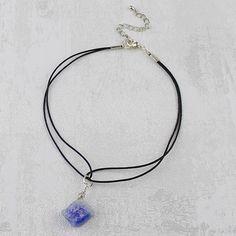 Layla Druzy Stone Leather Cord Choker Necklace