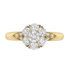 """Van Cleef & Arpels Gold & Diamond Cluster """"Fleurette"""" Ring 