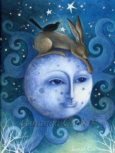 Limited edition Giclee of 'The Moon, the Hare and the Blackbird' by Amanda Clark. Fairy tale art and illustrations, wildlife art, hares, Clark Art, Photo D Art, Street Art, Rabbit Art, Bunny Art, Art Sculpture, Fairytale Art, Beautiful Moon, Wow Art