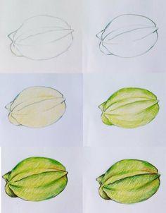 各种果蔬的彩铅步骤