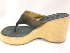 Splash Fashion Footwear Denim Blue Brown Cork Wedge Heel Size 10 Two Tone USED…