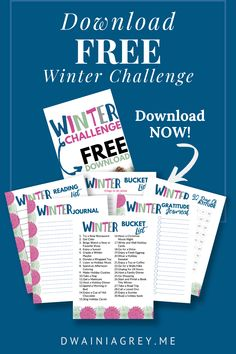 Free Download - Winter Challenge - Journal the moments that made us smile and laugh this year. Includes winter bucket list, winter gratitude, winter reading list. Download Now! #winterchallenge Kids Planner, Top Blogs, Things To Do Alone, Planning Your Day, Smiles And Laughs, Challenge Me, Reading Lists, As You Like, Movies To Watch