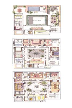 Modern House Floor Plans, New House Plans, Morrocan House, Riad Marrakech, Hotel Floor Plan, Courtyard House Plans, House Blueprints, Islamic Architecture, House Layouts