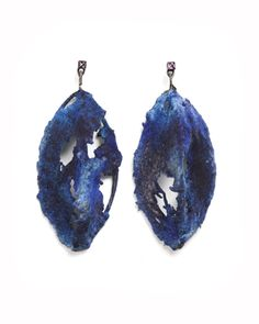 TANEL VEENRE: Earrings 2010. Amethyst, resin, lace, silver, colour pigments, cosmic dust