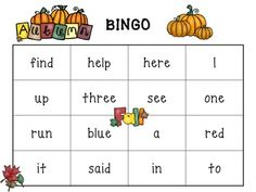 FALL SIGHT WORD GAMES- DOLCH PRE-PRIMER WORDS (BINGO and Uh, Oh!)  Make learning FUN!!