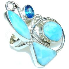 $70.55 Blue Melody! Blue Larimar Sterling Silver Ring s. 8 at www.SilverRushStyle.com #ring #handmade #jewelry #silver #larimar