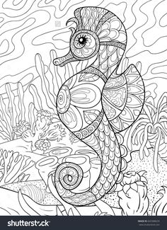 Adult coloring page,book a seahorse with background.Zen art style illustration.
