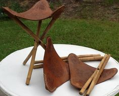 bamboo and leather tripod stool