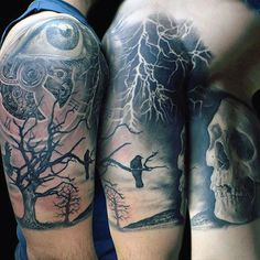 Lightening Strikes On Lone Raven Tattoos On Upper Arms For Males