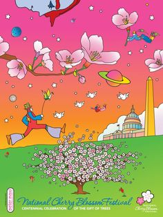 National Cherry Blossom Festival poster by Peter Max | Poul Webb
