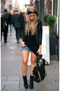 she wears a black bandana