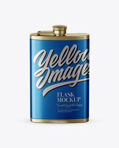 Steel Flask Mockup (High-Angle Shot)