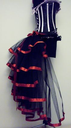 steampunk belt | Black Red Burlesque Steampunk Bustle Belt size US 2 4 6 8 10 UK 6 8 10 ...