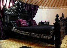 purple black kitchen | ... Black Bed Purple Pillo And Blanket With Curtain And White Wall And