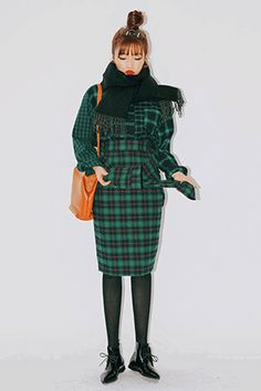 Color Check Knotted Shirt Skirt