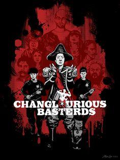 by Megan Lara BUY THE SHIRT: http://www.redbubble.com/people/meganlara/works/8979705-changlourious-basterds-dark-shirt