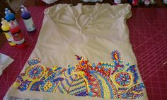 My latest and last puffy paint t-shirt.Was a lot of work but well worth it! Puffy Paint Shirts, Puff Paint, Indian Folk Art, Silver Foxes, Arts And Crafts, Diy Crafts, 12th Birthday, Embellished Top, Diy Shirt