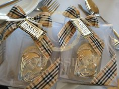 Burberry themed Christening icon favours / bonbonaire, by Odyssey Events