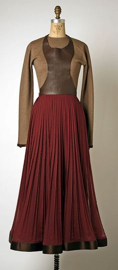 Ensemble, Geoffrey Beene, F/W 1995-96, American, wool, silk, synthetic and leather