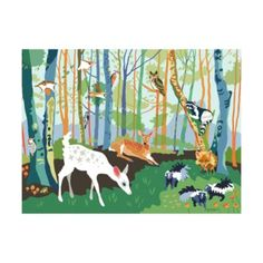 If you want to feel closer to nature, but don't want to live in a forest preserve, this mural decal has you covered.  Just stick it on your wall and your room instantly transforms into a tranquil forest.  Exclusively illustrated for us by artist Betsy Olmsted.