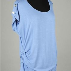 Blue button trim top Cute gold tone button shoulder top with cinched sides I would go up a size with these Boutique brand  Tops Blouses