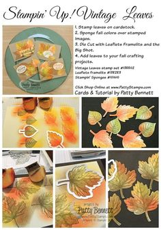 How to sponge/color and die cut Stampin' Up! Vintage Leaves stamps, tutorial by Patty Bennett