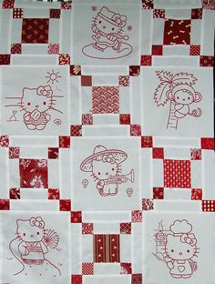 hello kitty redwork quilt top nice setting for red work Folk Embroidery, Machine Embroidery, Embroidery Patterns, Japanese Embroidery, Quilt Block Patterns, Quilt Blocks, Hello Kitty Imagenes, Irish Chain Quilt, Red And White Quilts