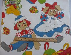 Vintage Raggedy Ann & Andy Wallpaper 2 Double Rolls Bobbs-Merrill 1980 Birge #BobbsMerrill #Wallpaper