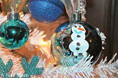 Frozen Olaf handmade fingerprint tree ornaments for 2014 Christmas - keepsake, floating ornament