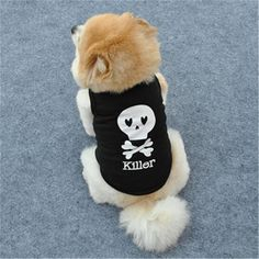 1 PC Pet Clothes For Small Dog XS-L Fashion Pet Dog Cat Cool Skull Printed T-shirt Clothes Vest Summer Costumes Wholesale 30A20