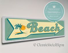 Classic Style Beach Sign – UV Protected Weatherproof Signs Suitable for Outdoor or Indoor Use – Exclusively from Classic Metal Signs