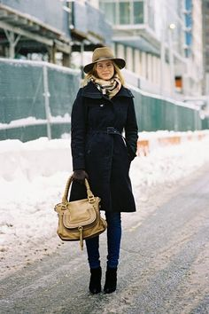 black coat + leather bag + felt hat + scarf