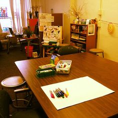 Images from art therapists, art therapy students, expressive art therapists, and arts organizations featuring the space they work in professionally or educationally  for art therapy & art-making.
