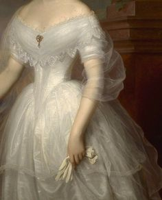 """Portrait of Empress Elisabeth of Austria"" (1853) (detail) by Franz Schrotzberg (1811-1889)."