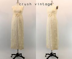 60s Silk Wedding Gown XXS / 1960s Floral Beaded Gown /  The Forever Love Wedding Dress