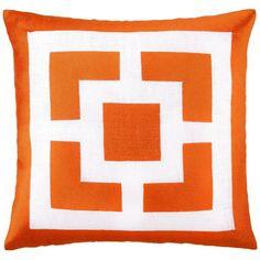Trina Turk Palm Springs Blocks Orange Embroidered Linen Pillow by Zinc Door $90