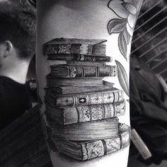 Hyperrealistic Stack of Books Tattoo Design