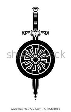 Sword shield tattoo, viking set. Celtic knightly emblem logo.