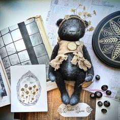 Купить Chapter 2, Полевые цветы - черный, мишка тедди, мишка, фантазийный, ретро