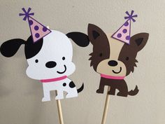 2 Girly Puppy Party Centerpiece Sticks, Bones, Dogs, Age, First Birthday, Pinks, Blues, Cupcake Toppers, Banner, Girly Puppy Decorations on Etsy, $5.58 CAD