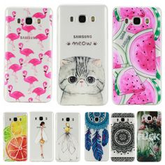 Phone Case for Samsung Galaxy J5 2016 J 5 J510 J510F J510H Soft Silicon TPU Transparent Thin Cover Cute Cat Flamingo Fruit Cases