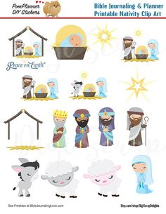 Nativity Clip Art Christian Stickers for Bible Journaling or Planners. Print and Digital files included. With this purchase you will receive:  1 printable PDF . Print, cut and paste for Bible Journaling or planners  PRINT AS MANY AS YOU NEED!!! Use over and over!  See FREEBIES at BiblejournalingLove.com  PRINTING HELPS:  ~ Print on 8.5×11 adhesive paper amzn.to/1MSOhxX ~ Use a paper trimmer to quickly cut amzn.to/1SSH9B6  ~ Alternative: Print on regular copy paper and adhere with yo...