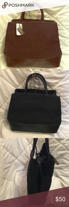 Furla Handbags Black linen/faux straw material with black leather trim.  Perfect condition. Furla Bags Totes