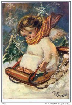 Adelina Zandrino Christmas Angels, Christmas Time, Vintage Christmas, Merry Christmas, Italian Painters, Illustration, Snow And Ice, Vintage Art Prints, Decoupage Paper