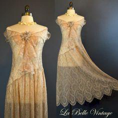 The Blushing Bride ~ Vintage 20s Wedding Dress & Slip Set ~ Gossamer Chantilly Lace by labellevintage (1285.00 USD) http://ift.tt/1DWD87m