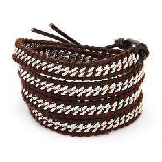 Chen Rai Curb Chain Inlay Brown Leather Wrap Bracelet. evesaddiction.com