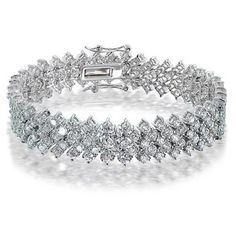 Bling Jewelry Bling Babe Bracelet ($120) ❤ liked on Polyvore featuring jewelry, bracelets, clear, tennis-bracelets, bracelet jewelry, bridal jewellery, bracelet bangle, clear crystal jewelry and clear bracelet