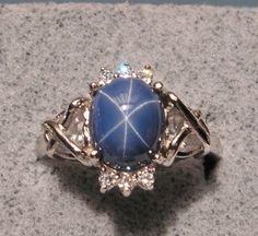 Vintage Linde Lindy CF Blue Star Sapphire Created Rhodium 925 Ring Captu Heart | eBay