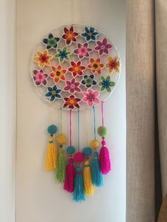 Bohostyle Dream catchers bright color knitted dream catchers handmade wall decor home decor wall hanging dream catcher Crochet Wall Art, Crochet Wall Hangings, Crochet Home, Crochet Gifts, Crochet Doilies, Diy Bordados, Wooden Feather, Crochet Dreamcatcher, Dream Catcher Craft