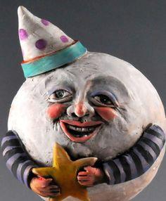 vintage man in the moon Vintage Men, Vintage Fashion, Vintage Style, Sculptures, Lion Sculpture, Paper Mache Crafts, Vintage Halloween Decorations, Halloween Doll, Sun And Stars